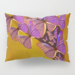 Shiny Purple Butterflies On A Ocher Color Background #decor #society6 Pillow Sham