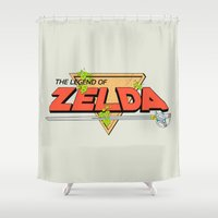 the legend of zelda Shower Curtains featuring The Legend of Zelda Logo by Studio Momo╰༼ ಠ益ಠ ༽