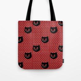 Crimson Moon Cat Dots Tote Bag