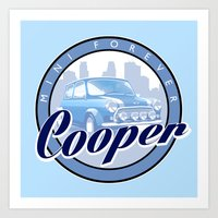 mini cooper Art Prints featuring Cooper by Barbo's Art