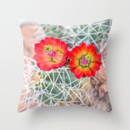 Mojave Mound Cactus Flowers Throw Pillow