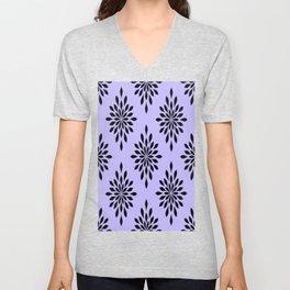 Black Diamond Flower on Lavender Background Unisex V-Neck