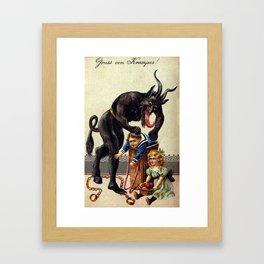Gruss von Krampus! Framed Art Print