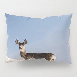 Deer Prancing Among  Snow Covered Hills Colored Wall Art Print Pillow Sham