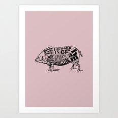 Pig Cuts Art Print