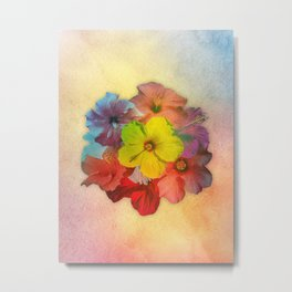 Colorful Hibiscus Bouquet Metal Print