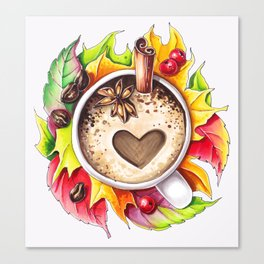 Fall and cup of coffee Canvas Print