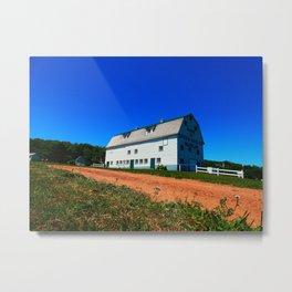 Barn and Red Sands under Blue Skies Metal Print