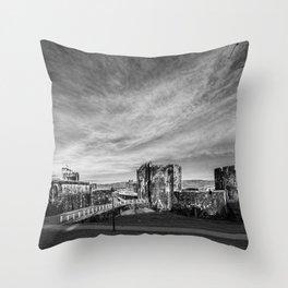 Caerphilly Castle Panorama Monochrome Throw Pillow