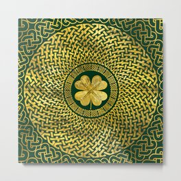 Irish Four-leaf clover with Celtic Knot Metal Print
