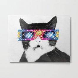 Laser Cat Metal Print