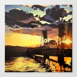 Purple & Orange, Steel Bridge - Portland, Oregon Canvas Print