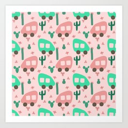 Camper Vans in Pink and Mint with Green Cactus and Pink Flowers Art Print
