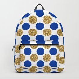 Pastel pink navy blue faux gold glitter polka dots Backpack