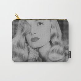 Veronica Lake with iconic peekaboo hair style black and white photograph Carry-All Pouch