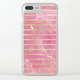 Geometrical artistic pink watercolor gold striped Clear iPhone Case