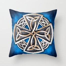 Celtic Cross Blue Throw Pillow