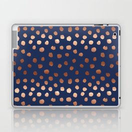 Rose Gold navy polka dot painted metallic pattern basic minimal pattern print Laptop & iPad Skin