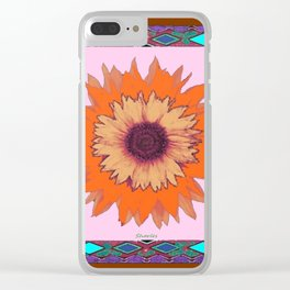 Western Style Chocolate Brown Pink-Orange Sunflower Art Clear iPhone Case