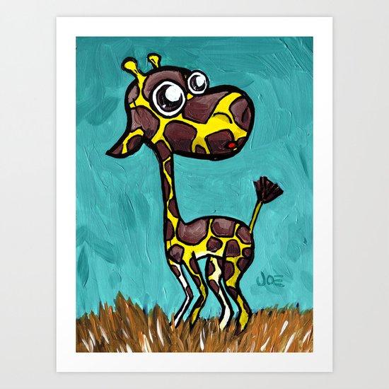 Stretch the Baby Giraffe Art Print