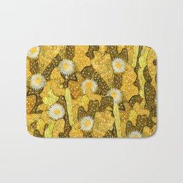 Cacti Camouflage, Floral Pattern, Golden Husk Bath Mat