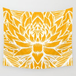 Golden Yellow Lotus Wall Tapestry