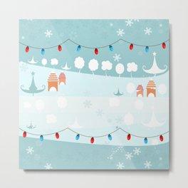 Happy holidays winter, snow and light bulb  Metal Print