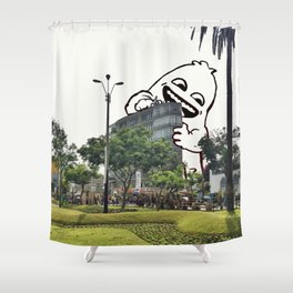 A friend came to visit Miraflores #eclecticart Shower Curtain