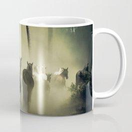 Herd of Horses Running Down a Dusty Path Coffee Mug
