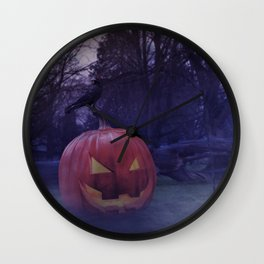 The pumpkin and the crow Wall Clock