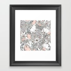 Gray and Pink Floral Pattern Framed Art Print