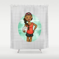 volleyball Shower Curtains featuring Volleyball Girl by Lunar Fox