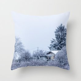 Snowy winter cabin in the woods Throw Pillow