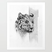 leopard Art Prints featuring Leopard by Anna Tromop Illustration