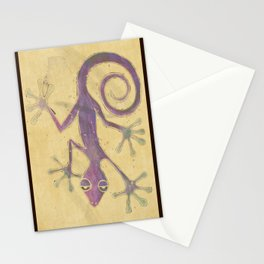 Purple Gecko of Love Stationery Cards