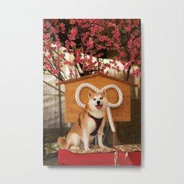 Kuma: Sakura tree and Shiba Metal Print