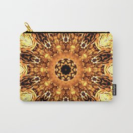 Yellow Brown Mandala Abstract Flower Carry-All Pouch