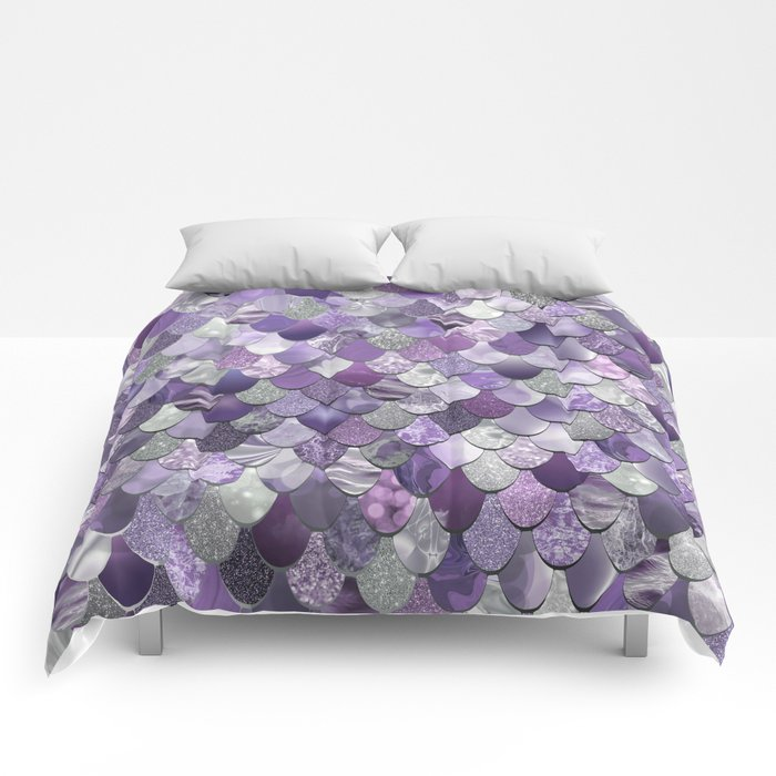 Mermaid Purple and Silver Comforters