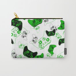 Video Game White and Green Carry-All Pouch