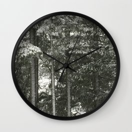 Snow On Pines Wall Clock
