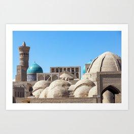 Toki Zargaron domes in Bukhara, Uzbekistan Art Print