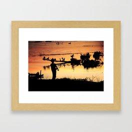 Little Boy Fishing Framed Art Print