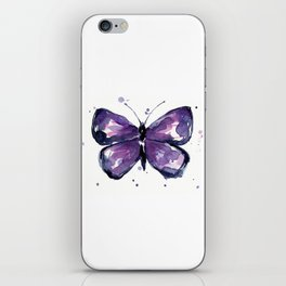 Purple Butterfly Watercolor Abstract Animal Art iPhone Skin
