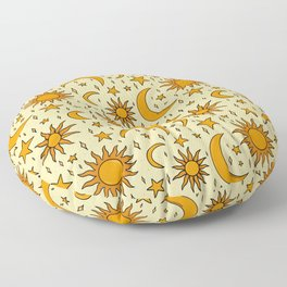 Vintage Sun and Star Print Floor Pillow