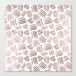 Elegant faux rose gold modern geometric stripes Canvas Print