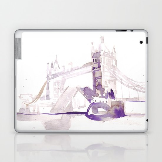 Watercolor landscape illustration_London Bridge Laptop & iPad Skin