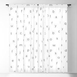 ABC alphabet back to school type pattern Black & White Blackout Curtain