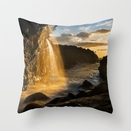 Gone Fishing - sea angling off Hawaii shore Throw Pillow