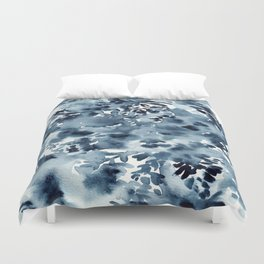 Abstract Monochromatic Watercolor Painting Indigo Blue Duvet Cover