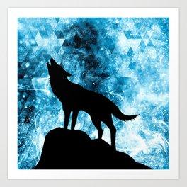 Howling Winter Wolf snowy blue smoke Art Print